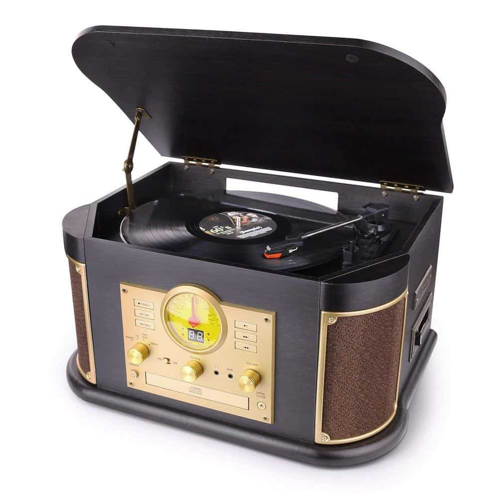 D&L Vintage Wooden Turntable Record Player