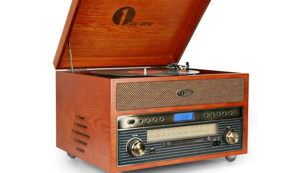 1byone Nostalgic Wooden Record Player