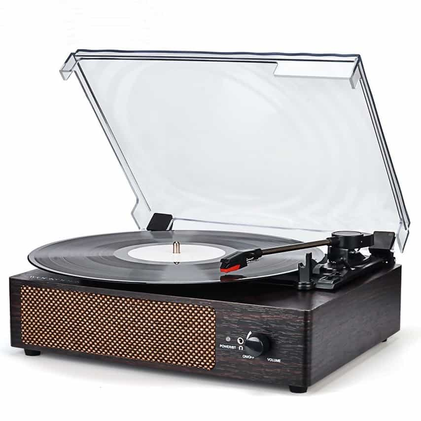 wockoder record player with built-in speakers