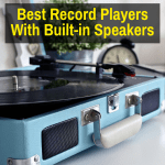 A record player with built-in speakers