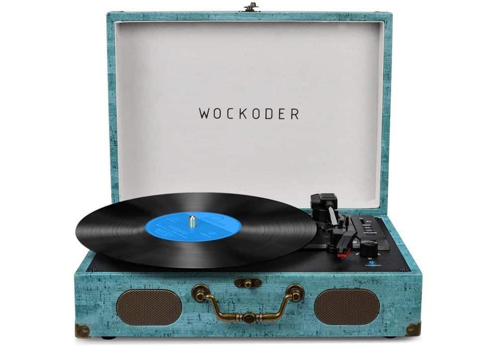 Wockoder vintage suitcase turntable