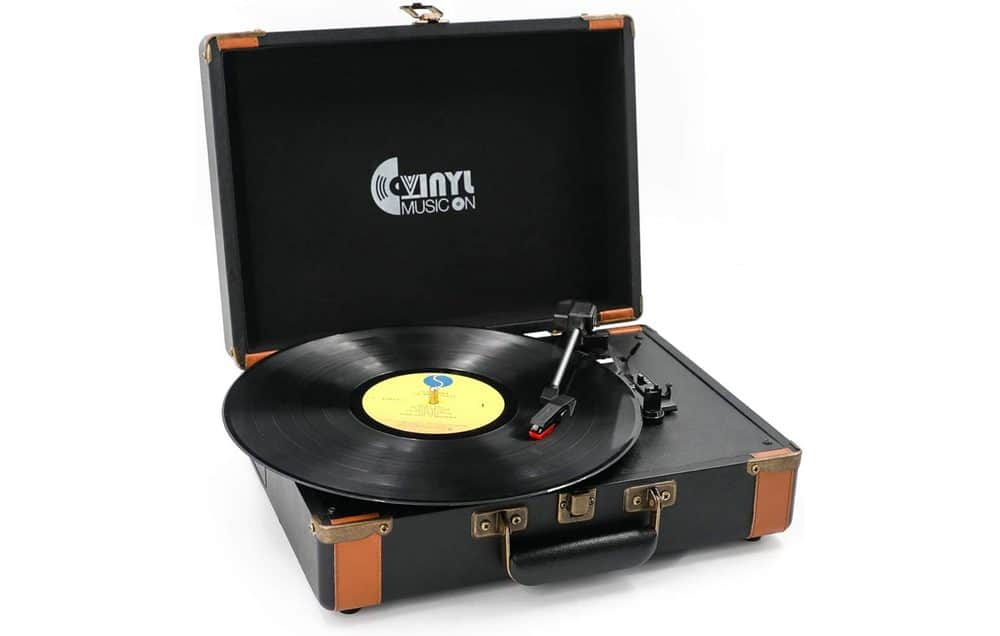 Vinyl Music On 3-Speed Stereo Suitcase Turntable