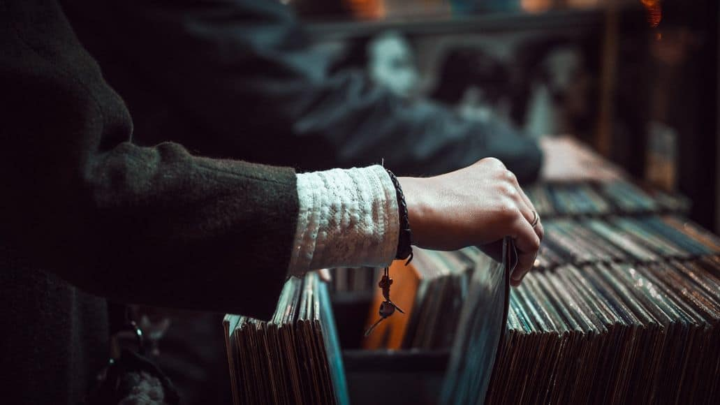 browsing in record store